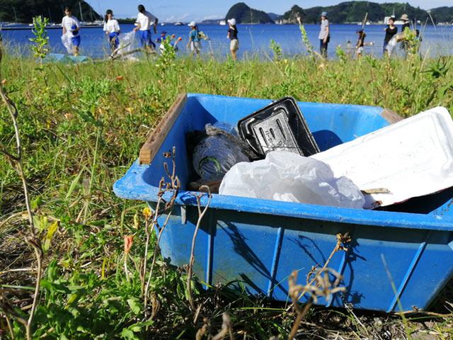 ビーチで回収したゴミ