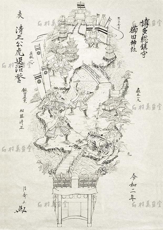 中村人形三代目中村信喬氏により描かれた〈表・清正公虎退治誉〉