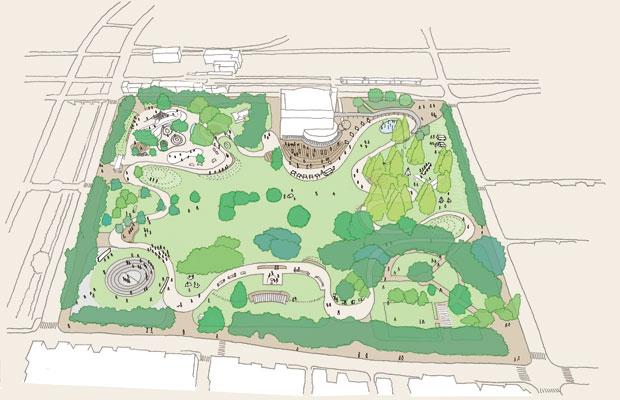 PRMで参加者と共有した市民公園のリニューアル全体イメージ。公園を8つのゾーンに分け、性格づけを行う。有機的な広場に沿った園路を巡ることで、多様な活動や風景が見える。それらが程よい距離感で同居するのが、居心地の良さにつながると考えている。