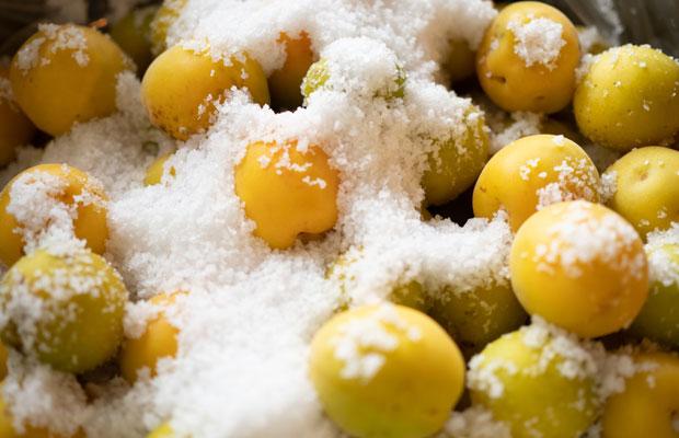 太陽と風の力でじっくりと時間をかけてつくられた天日塩。地元の梅と塩でつくる贅沢梅干しです。