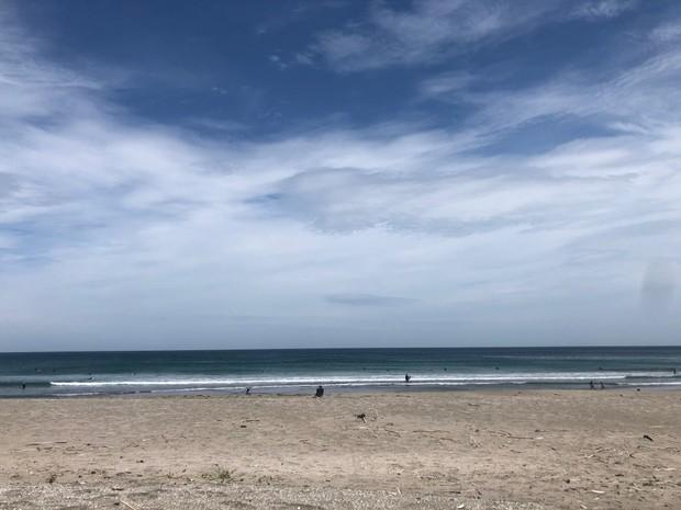 波をチェック。広い海岸にはサーファーがちらほら。