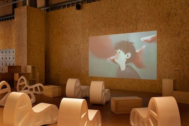 PLAY! PARK 内観 「シアター」。多摩美術大学グラフィックデザイン学科の学生によるアニメーション作品「タマグラアニメーション」を上映します。