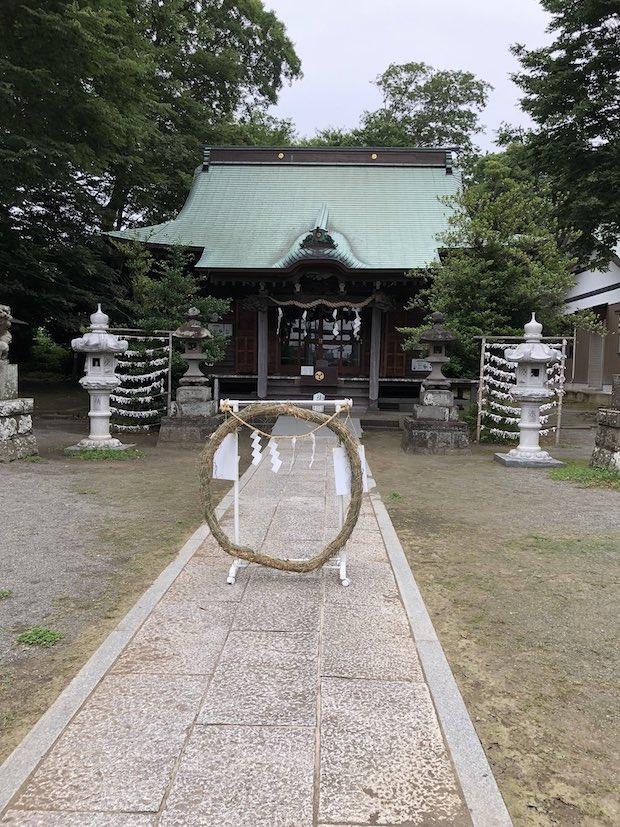 有鹿神社の茅の輪。7月の半ば頃まで、神職の方がいる時のみ登場。