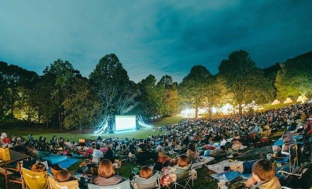 映画祭で芝生広場に設置されたスクリーン。