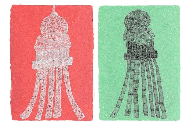 〈NOZOMI PAPER Factory〉の美和子さんが描いた七夕飾り。短冊にするには厚すぎた紙を再利用してポスターサイズの紙を漉き、一枚一枚に美和子さんがペン1本で書き下ろした作品です。