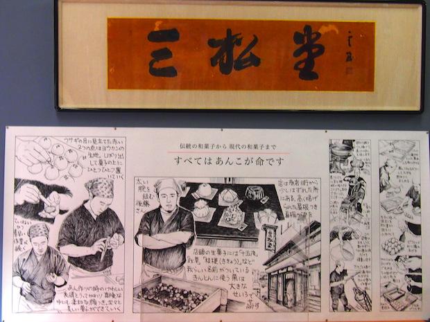 店内にもあんこに命をかける工程がコミカルに描かれたポスターも。