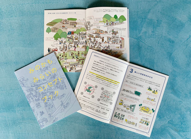 『みのかもみらいのコンセプトブック』。イラストや図を多用してわかりやすい言葉で説明。
