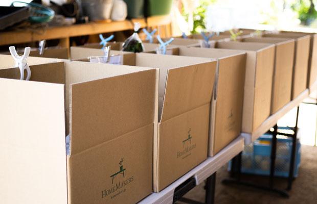 ダンボールに旬の野菜を詰め込んで、東京など各地に発送します。