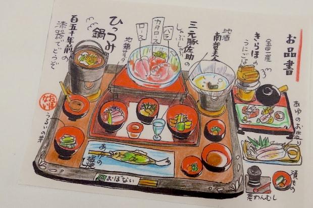 ももこさんが描いたおしながき。「料理の前でずっと話して説明するのも申し訳ないかなと思った」と、毎日その日のメニューを描いて、お客さんの手元に置くようにしています。