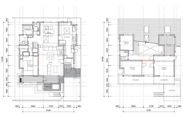 平面図(左1階、右2階)。
