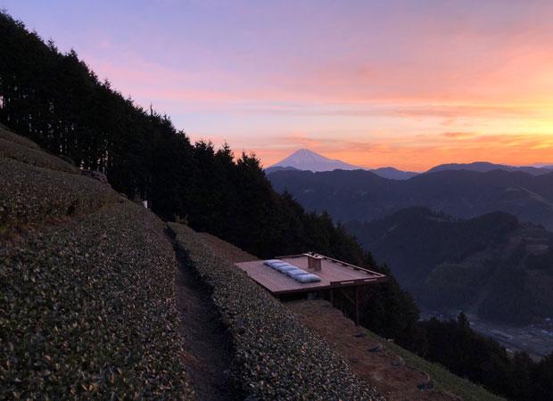 朝焼けの〈天空の茶の間〉。夏期は早朝プランもある。90分1名3000円。雨天中止。(写真提供:豊好園)