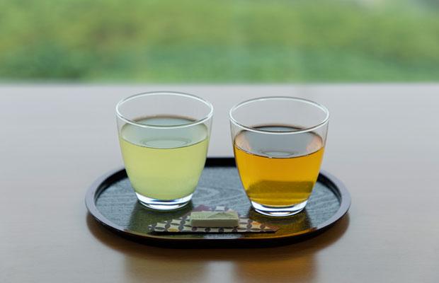 2種類の冷たいお茶が飲み比べできる冷茶テイスティングセット700円(税込)。