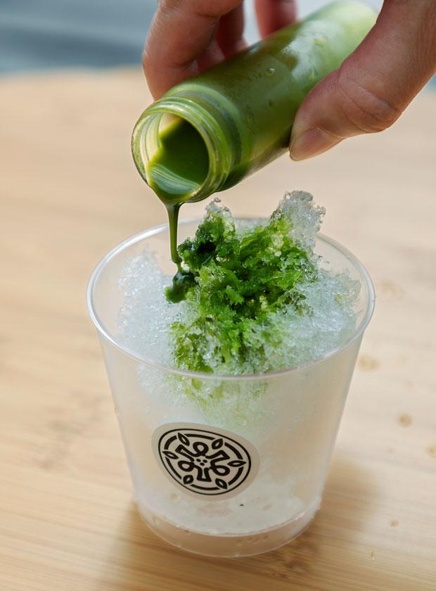 夏季限定で、お茶を使ったかき氷「茶氷」と冷茶が1種ついたプランが登場。
