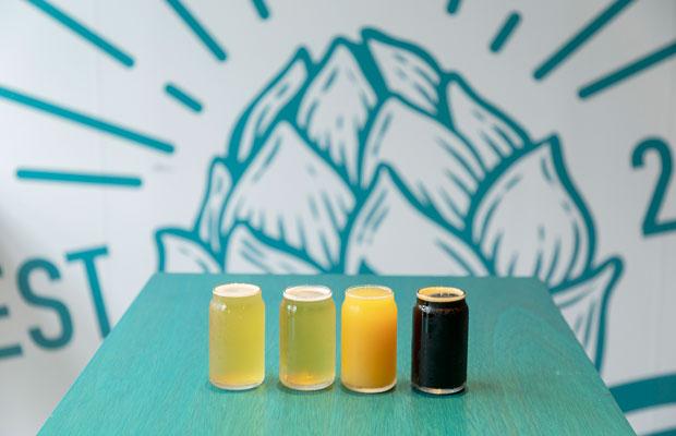 初めての人には、小さめのサンプルサイズで4種類が飲み比べられるセット1,400円がオススメ! 500ミリリットル缶の販売もしている。