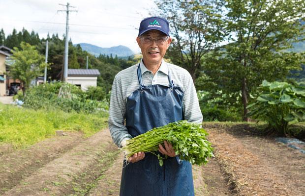 夏場はせり農家、冬場は杜氏となる高橋藤一さんは、秋田の地酒の要といえる山内杜氏のレジェンド。せりを見つめる眼差しはやさしい。