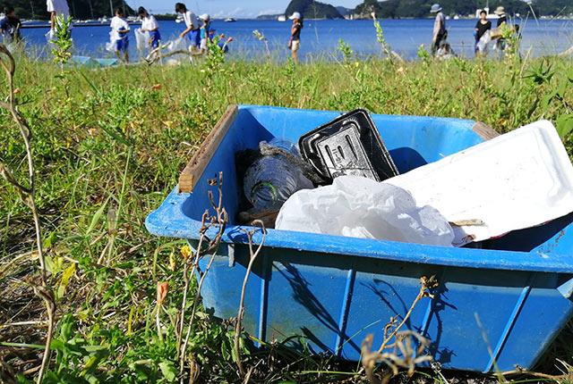浜辺にたどり着いたプラスチックごみ