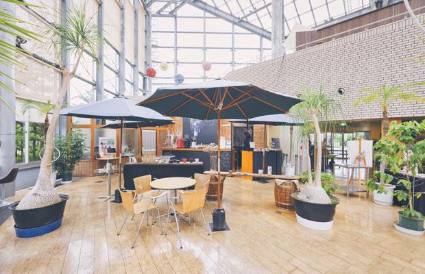 カフェはガラス張りの開放感ある空間。窓越しに植物園の美しい緑を楽しめる。テラス席も心地いい。