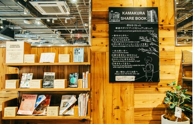 使わなくなった鎌倉のガイドブックを、次に使う人へのメッセージを添えてお店に寄付するプロジェクト「KAMAKURA SHARE BOOK」。開店当初からこの取り組みに興味を持った住民から本の持ち寄りが相次ぎ、住民と旅行者をつなぐひとつの接点になっている。