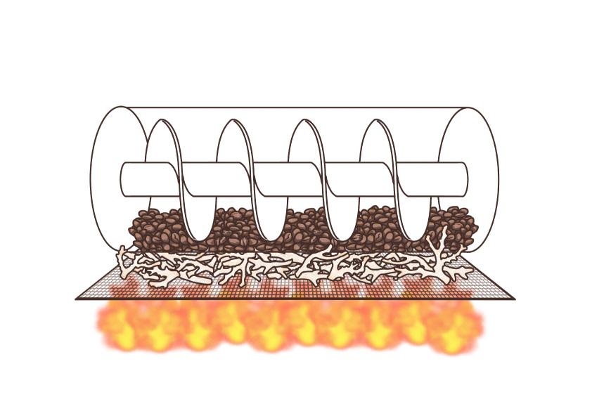 風化したサンゴを利用してコーヒー生豆を焙煎しているイラスト
