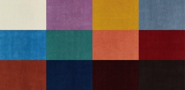 色合いは全12色。Sサイズ(140×200cm)270200円、Mサイズ(200×200cm)386000円、Lサイズ(250×200cm)482500円(税別)。