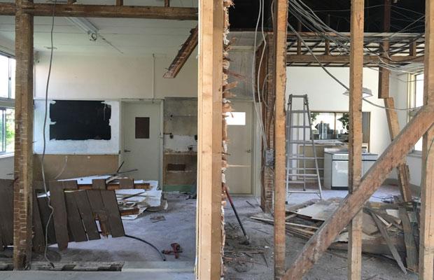 解体直後の様子。右上に見える格天井は既存利用しました。