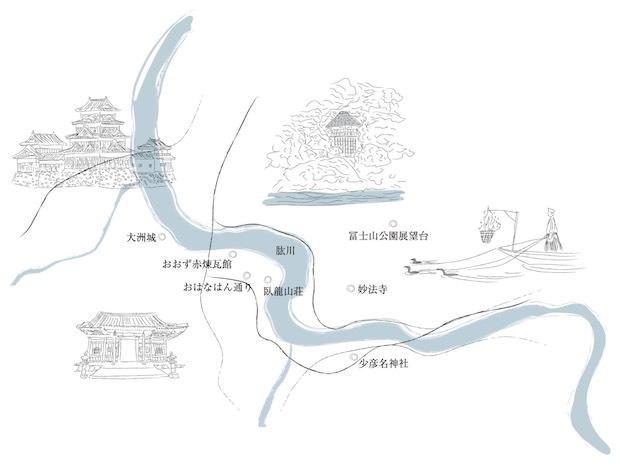 肱川を挟んで南北に広がる大洲市。