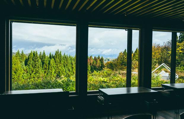 天井に配された県産杉のルーバーが外の自然とつながっているような、森と一体感のある空間。