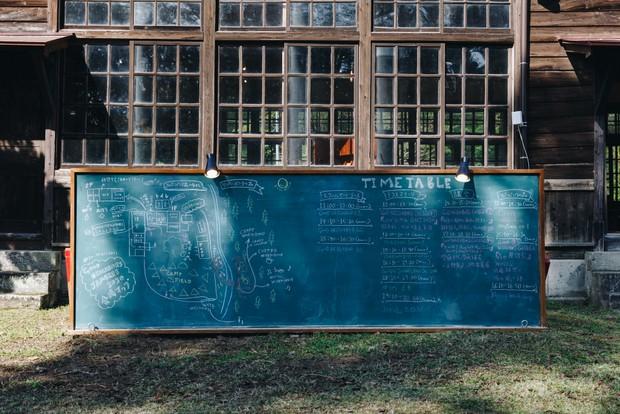場内マップやタイムテーブルも現場で黒板に手書き。