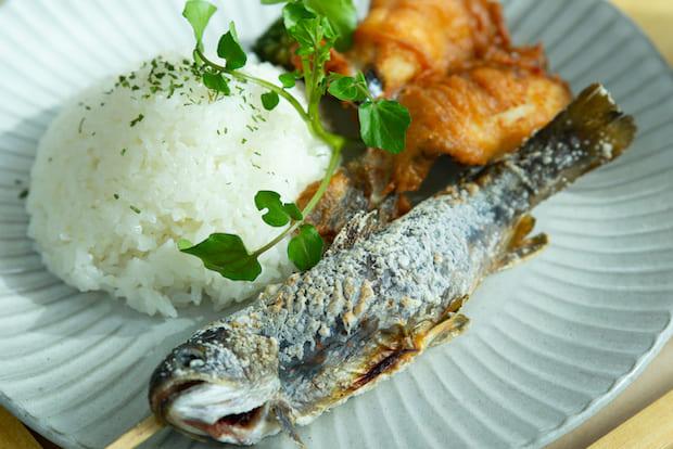 釣った魚で料理してもらった塩焼きと唐揚げの定食。