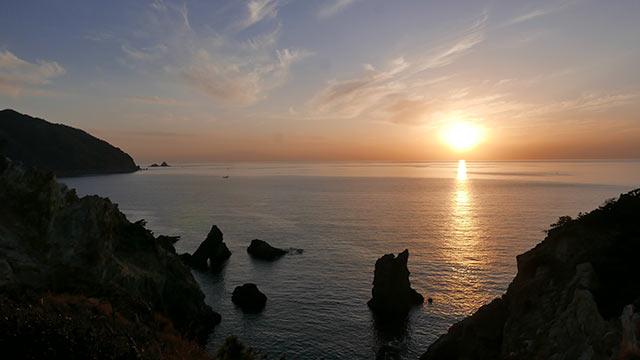 駿河湾に沈む夕陽