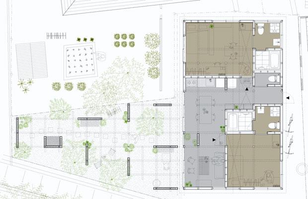 2住戸(茶色の部分)の間にL字型の共有部がある〈藤棚のアパートメント〉。共有部から庭につながっていく。