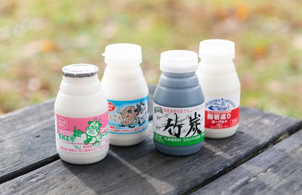 (左から)イチゴ(秋田産)、レンコン(千葉産)、竹炭(高知産)を使用したヨーグルト。「大手メーカーさんがやっていないような、少ない量でもつくれる製品にチャレンジしています」と井上さん。一番右はモンゴル生まれの乳酸菌を利用した〈腸若返りヨーグルト〉。