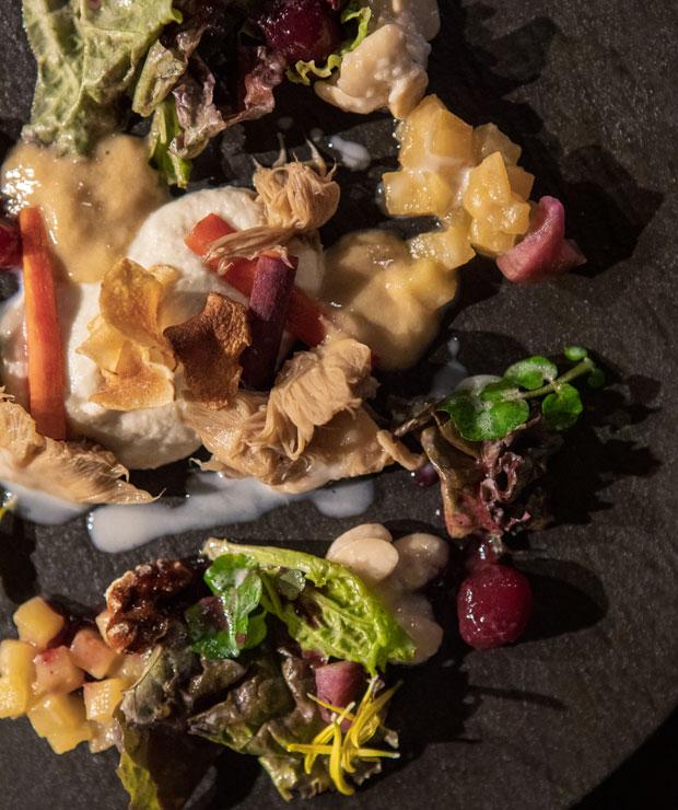 コースのアンティパスト・季節の野菜のサラダ。散りばめられるのはヴィアンヴァーの酵母発酵液で調理したにんじんやさつまいも、醤油でローストしたナッツなど。地のキノコのソテーに酵母発酵させたキノコのソース・ヨーグルトのドレッシングが添えられます。