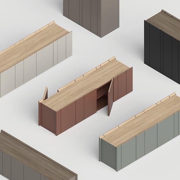 「DD Shelf」製造:アルプススチール 前後両開きのクローズドシェルフ。前からも後ろからも収納物を取り出せ、間仕切りとしても活用できる。