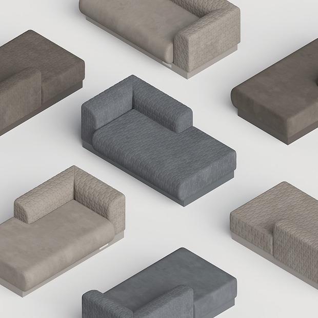 「Lay Sofa」製造:株式会社フジライト 100%自社工場生産の業務用家具メーカー〈フジライト〉が〈東レ〉と共同開発したオリジナルファブリックを活かして作ったデイベッドタイプのソファ。