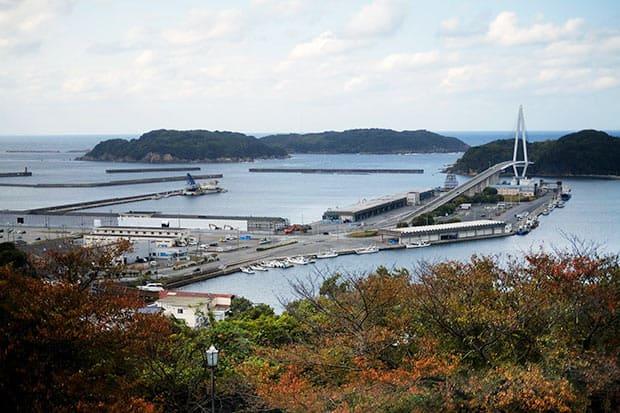 〈道の駅 ゆうひパーク浜田〉から浜田マリン大橋と港を見下ろす。