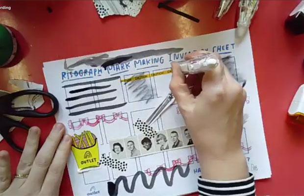 写真やシール、ペンや薄いグレーなど、さまざまな表現がリソグラフでどのように印刷されるかをテストするためのシート。独自の表現を探るために参加者ひとりひとりが制作。