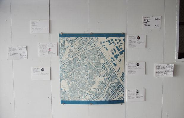 青焼きでつくった近隣MAPはアーティストの吉田さん作。みんなのおすすめをプロットしてます。