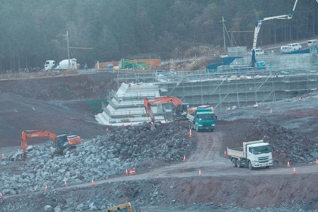 境沢川調整池工事の現場。