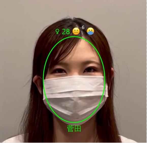 AI顔認証ソフトのSAFR®はマスク着用でも検出可能。