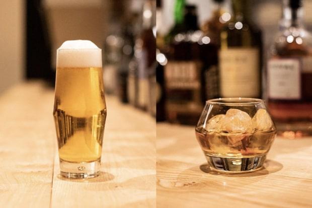 〈MASCOS HOTEL〉のレストランでは島根の上質な地酒やクラフトビール、ビオワイン、スコッチ、ジン、ラムなどの厳選された洋酒が豊富に揃う。