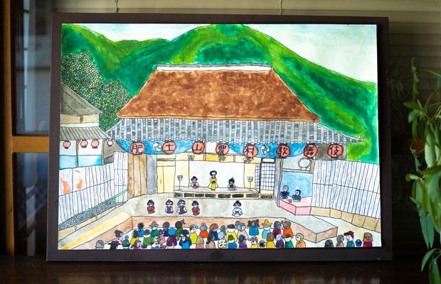いろはが小学4年生のときに描いた歌舞伎舞台の絵。来年はこの風景が見られますように。