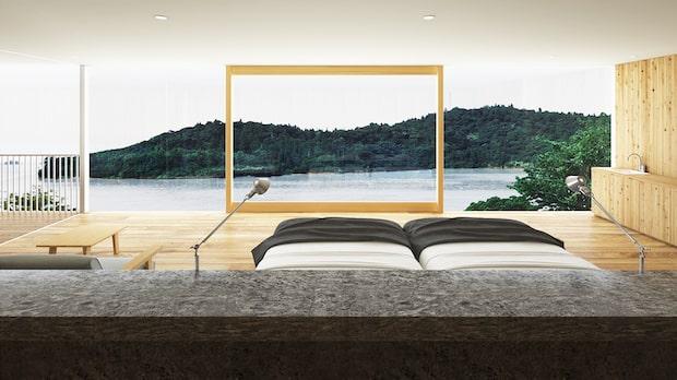 隠岐諸島の島前に日本初のジオホテル〈Entô(エントウ)〉が誕生。客室はジオパークの景色が見渡せる大きな窓が特徴のシンプルなつくり。