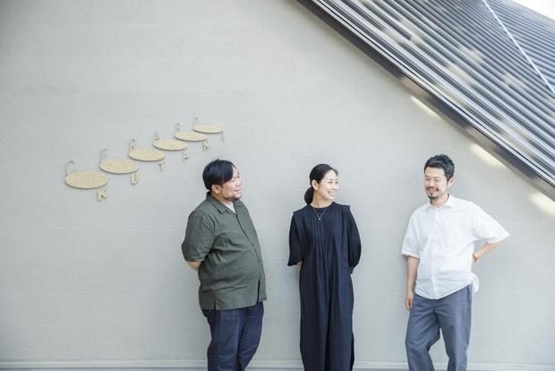 小松市の地域おこし協力隊として、セラボクタニに勤務する3人。左から緒方康浩さん、中岡庸子さん、吉田良晴さん。
