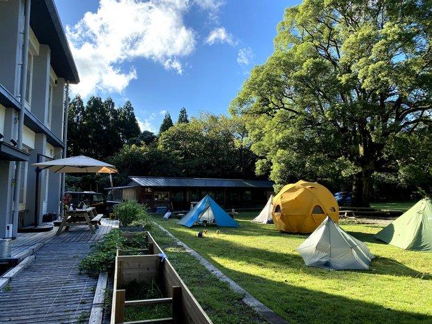 緑に覆われた校庭で自由にキャンプが楽しめる森の学校。