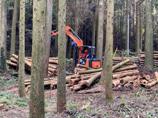 地域の森林組合の方々の協力のもと間伐を進める。