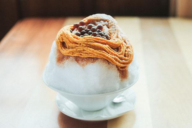 〈南阿蘇菓子処 蘇水(そすい)〉「かぼちゃのキャラメルモンブランかき氷」