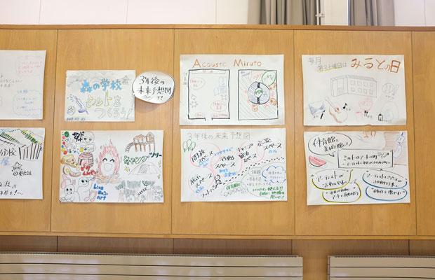 北海道教育大学岩見沢校の学生たちが考えた美流渡中学校の3年後の未来予想図。