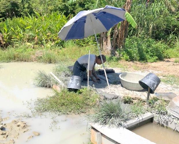 泥染めの仕事の最終工程は余分な染料や泥を洗い流すこと。これは工房近くの渓流で行います。