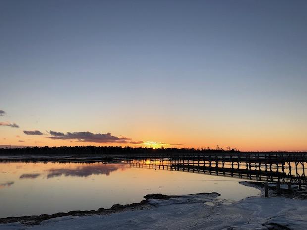 春国岱に沈む美しい夕日